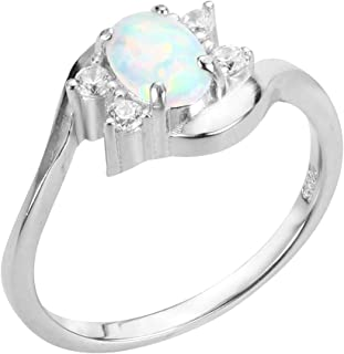 Oval Simulated Opal Swirl Tension Ring Sterling Silver (Color Options, Sizes 3-15)
