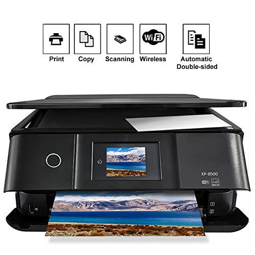 TANCEQI multifunctionele printer Inkjet A 6 kleuren A4 met LCD-display, 5760 × 1440 dpi, front-retro, USB, WiFi, direct, zonder draadzijden/druk van netstof, zwart