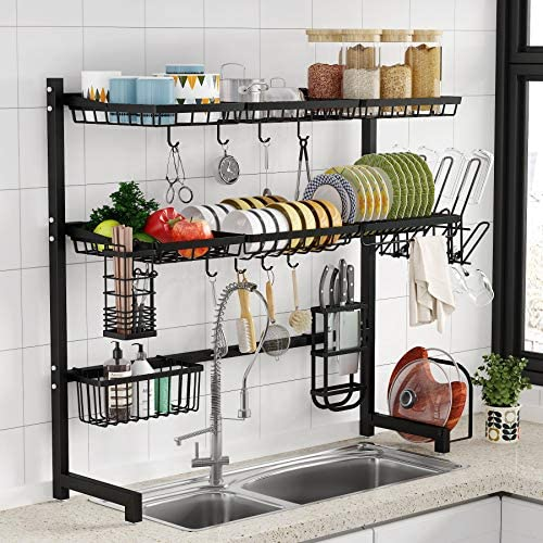 Over the Sink Dish Drying Rack 1Easylife 3 Tier Stainless Steel Large Kitchen Rack Dish Drainers product image