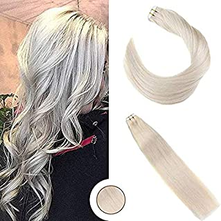 [Big Promotion] Ugeat 24Inch Silky Straight Hair Real Tape in Extensions Human Hair #24 Light Blonde Double Sided Tape on Remy Hair Extensions Seamless 20Pcs 50Gram