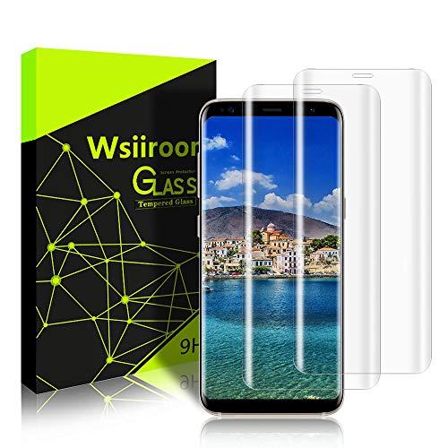 wsiiroon [2 Stück Panzerglas Schutzfolie mit Samsung Galaxy S8 - kompatibel 3D Berührung – HD Displayschutzfolie – Transparenz – 9H Anti-Bläschen Panzerglasfolie für Samsung Galaxy S8