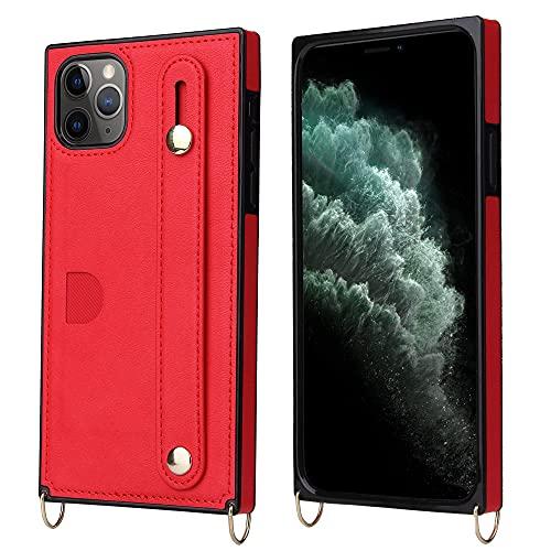 GGOIl Funda de Silicona Multifuncional Diagonal con Correa para el Hombro para iPhone 12 Mini 11 Pro MAX SE 2020 X XR XS MAX 7 8 Plus Funda Protectora Simple y Suave, para iPhone 12Pro, Rojo
