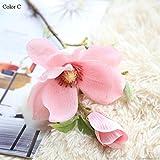 NO BRAND Llzpl Decoración de la Boda Seda Flor orquídea Magnolia decoración del hogar Boda simulación Flor C