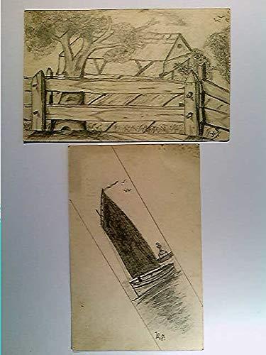 Segelboot m. Leuchtturm, Bauernhaus, orig. Bleistiftzeichnungen, 2 Künstler-AK, ungelaufen