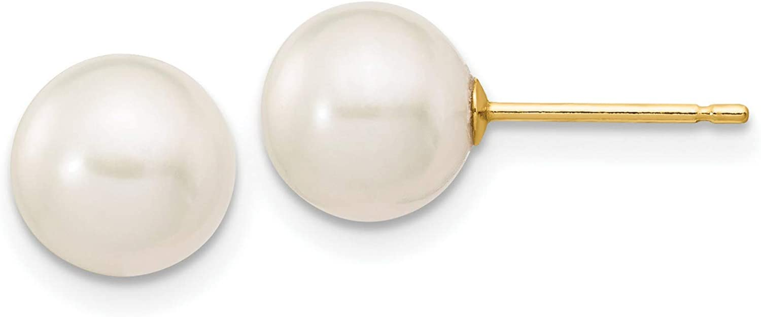 14k Yellow Gold 7-8mm White Freshwater Cultured Pearl Stud Earrings 7x7 mm