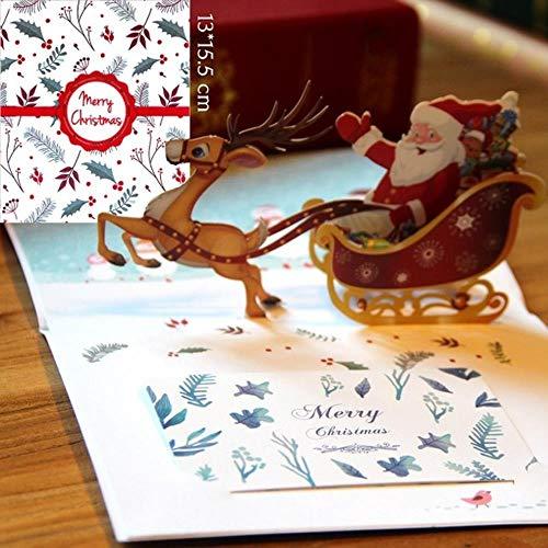 YaoJII 1 stuk kerstkaarten geschenk 3D pop-up kaarten kerstfeest uitnodigingen decoratie kaarten met enveloppen