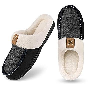 Homitem Men s Cozy Memory Foam Slippers,Fuzzy Wool-Like Plush Fleece Lined House Shoes w/Indoor Outdoor Anti-Skid Rubber Sole Size 9-10,Black