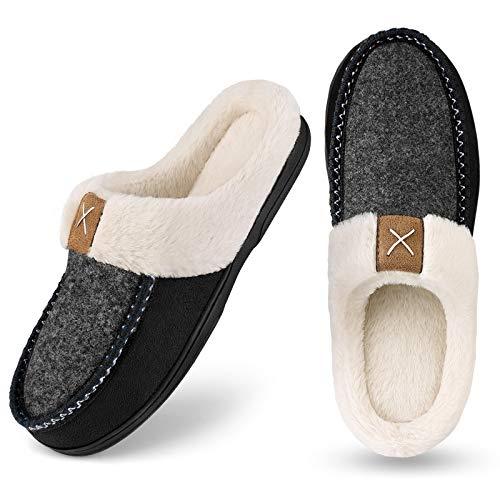Homitem Men's Cozy Memory Foam Slippers,Fuzzy Wool-Like Plush Fleece Lined House Shoes w/Indoor Outdoor Anti-Skid Rubber Sole(Size 13-14,Black)