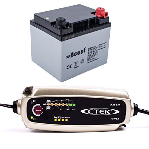 Batterieset für elektrische Wohnwagen Rangierhilfe 40 Ah , inkl C-tek MXS 5.0 Ladegerät