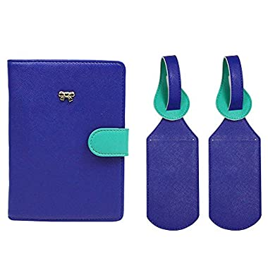 JAVOedge Blue/Turquoise Two Tone Color RFID Blocking Snap Passport Case with Pen Holder and 2 Matching Luggage Tags