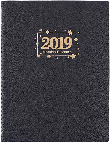 """2019 Monthly Planner with Tabs - 2019 Monthly Planner with 13 Note Pages, Twin-Wire Binding + Pure White Paper with Monthly Tabs, Federal Holidays, Contacts and Passwords, 8.5"""" x 11"""", 2 Pack- Poluma"""