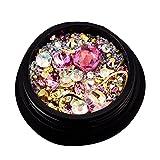 Nagelkunst-Strassstein-Set für Nagelkunst-Dekorationen, Nagelperlen, Glitzerkristalle, Nagelkunst-Dekorationen, Kristalle, Charm, Diamant-Edelstein-Aufkleber (rosa)