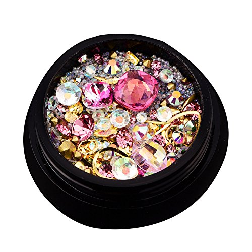 Juego de piedras de estrás para decoración de uñas, cuentas de uñas, cristales de purpurina, decoración de uñas, cristales de cristal, amuleto de diamante (rosa)