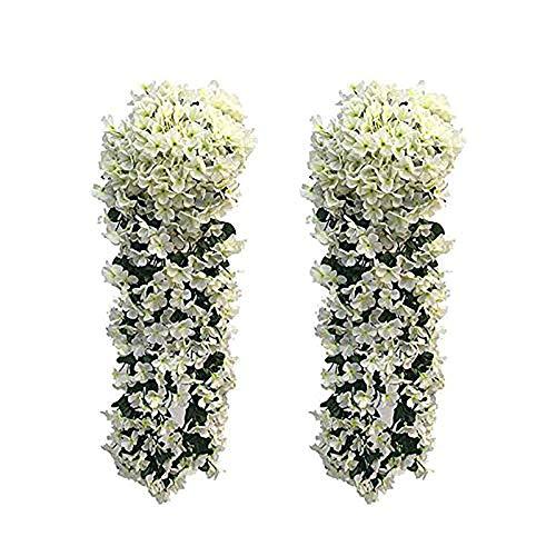 2 Stück kunstblumen veilchen LMYTech hgende blumen/hgende kunstblumen/hgende kunstpflanzen/kunstpflanze hängend/700 mm/Party Dekoration/Hochzeit Dekoration-Weiß