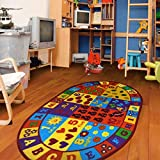 Furnish my Place 740 Numbers 3x5 Kids Abc Educational Alphabet Letter AntiSkid Oval, 3'3'x5', Multicolor