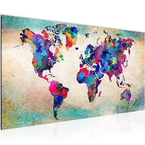 Bilder Weltkarte World map Wandbild Vlies - Leinwand Bild XXL Format Wandbilder Wohnzimmer Wohnung Deko Kunstdrucke Bunt 1 Teilig - MADE IN GERMANY - Fertig zum Aufhängen 013312a