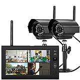 RANZIX 7' TFT DVR Digitales Überwachungskamera Set mit Monitor, Außen Videoüberwachungs Außenkamera LCD Funk Überwachungskamera mit 2 Kamera