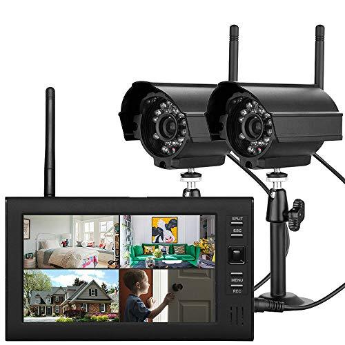 """RANZIX 7\"""" TFT DVR Digitales Überwachungskamera Set mit Monitor, Außen Videoüberwachungs Außenkamera LCD Funk Überwachungskamera mit 2 Kamera"""