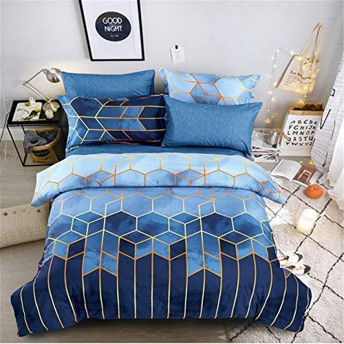 Shamdon Home Collection - Set di biancheria da letto, 3 pezzi, in microfibra anallergica, con 2 federe, chiusura con cerniera, singolo, motivo geometrico esagonale, colore: blu