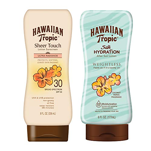 Hawaiian Tropic SPF 30 Broad Spectrum Sunscreen and After Sun Pack with 8oz Sheer Touch Moisturizing Sunscreen Lotion and 6oz Silk Hydration Weightless After Sun Lotion