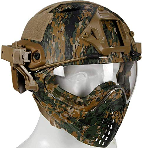 SNFHL Gafas Protectoras de Cara Completa Casco Táctico Casco de Combate Casco Protector,Normal-Dw
