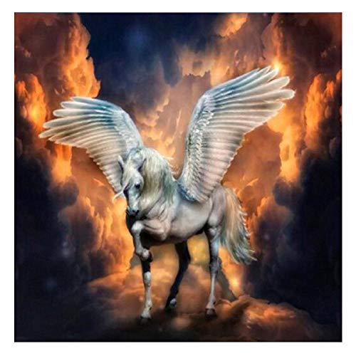 Msszsh 5D Diamant Schilderij Kunst Kits Eenhoorn Pegasus Paard Ronde Boor Volledige Borduurwerk Mozaïek Strass Woondecoratie 40X40Cm(15.5X15.5inch)