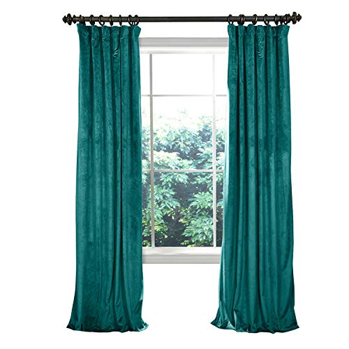 COFTY Solid Luxury Heavyweight Velvet Curtain Drape with Blackout Thermal Lining Everglade Teal 50Wx63L Inch (1 Panel) - Flat Hooks Heading for Track