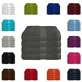 4 tlg. Handtuch-Set in vielen Farben - 4 Handtücher 50x100 cm - Farbe anthrazit