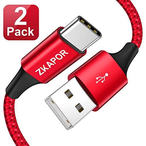 ZKAPOR Cable USB Tipo C, [2Pack 0.5M] Cargador Tipo C Carga Rápida y Sincronización Cable USB C para Galaxy S10/S9/S8 Plus Note9, Xiaomi Mi A2/A1, Huawei P30/P20/Mate20, Xperia XZ, LG G7 Rojo