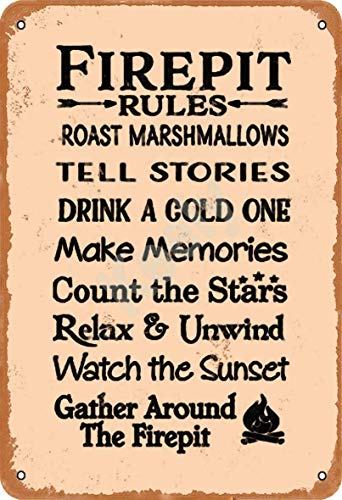 BIT YULALA Fire Pit Rules Retro Tin Signs Metal Vintage Signs Auto Motorcycle Gasoline Garage Home Wall Decoration Metal Plaques12 X 8 Inch