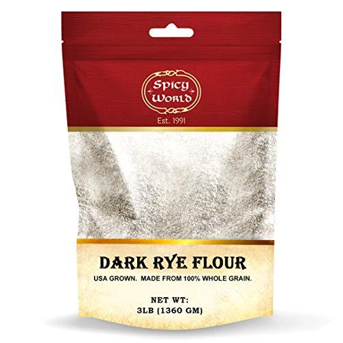 Spicy World Dark Rye Flour 3 Pound for Bread, Baking, Cooking   100% Whole Rye Flour, Natural   Non-GMO