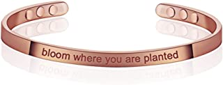 Damofy Personalized Copper Magnetic Bracelet Bangle Engraved with Any Words, Custom Magnetic Therapy Name Bracelet Pain Relief for Arthritis and Carpal Tunnel for Her