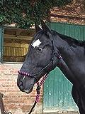 Knotenhalfter mit Strick fr Pferde  gepolstert an Nase und Genick, ideal fr Bodenarbeit, Pferdeausbildung, Training (schwarz-pink)