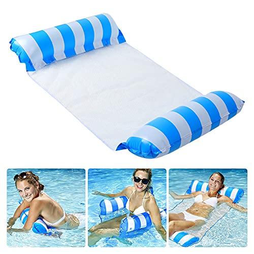 AnCoSoo Cama hinchable para piscina 4 en 1, colchoneta hinchable para piscina, cama de piscina, tumbona hinchable para tumbona de agua para adultos y niños