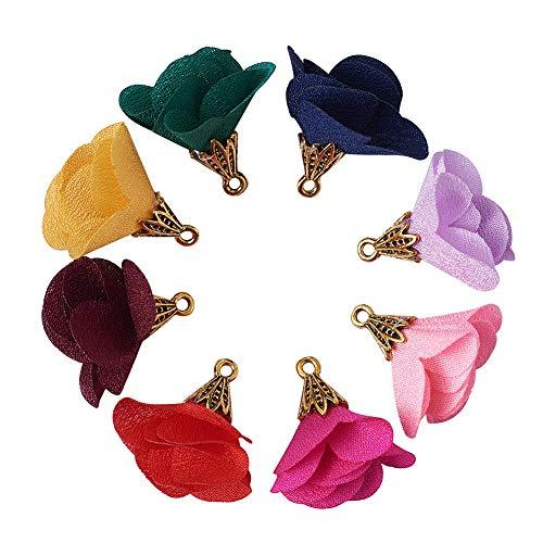Beadthoven 100 colgantes de flores de tela de colores, colgantes de flores de gasa, borla de tela, abalorios florales con pétalos de oro, gorras para colgantes, llaveros, collares de suéter,