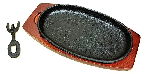 Cast Iron Steak or Fajita Plate with Wooden Holder and handle