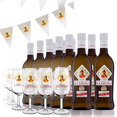 Manzanilla La Gitana - Pack 12 Botellas 37,5 Cl. + 6 Catavinos + Banderines