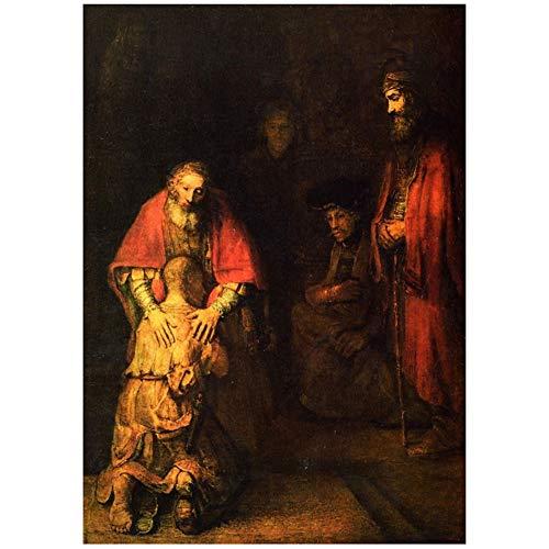 Rembrandt: Die Rückkehr des verlorenen Sohnes Poster Dekoratives Gemälde für Wohnzimmer Wohnkultur Geschenkdruck auf Leinwand -50x75cm ohne Rahmen