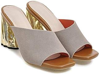 Womens Slide on Mid Heel Sandals Open Toe Cork Faux Suede Dress Summer Slippers Shoes