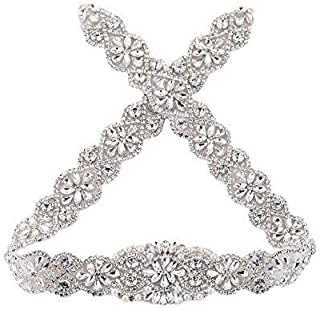 29.7'' Crystal Beaded Rhinestone Wedding Dress Sash Applique Sew on Hot Fix Iron on for Bridal Bridesmaid Gown Womens Prom Formal Belt with Jeweled Sequin Diamond Embellishment Bride Keepsake - Silver