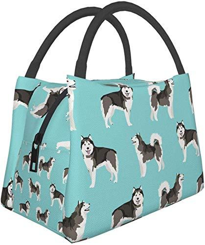 Bolsa aislante reutilizable para almuerzo, malamute de Alaska de pie, simple retrato de perro,...