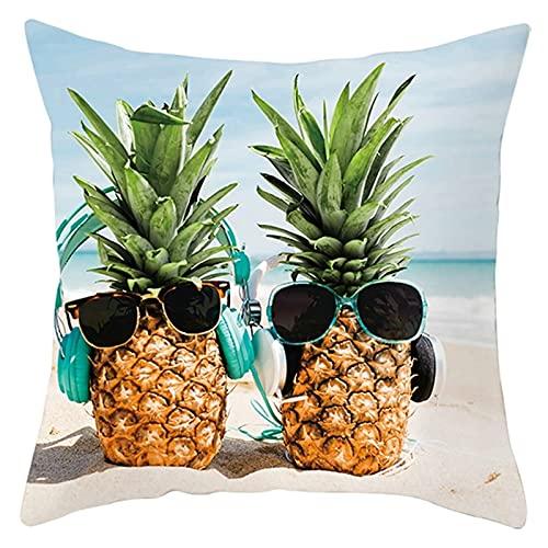 Beydodo Cojines,Piñas y Gafas de Sol en la Playa,Funda de Cojin 50 50 Funda Cojin Pack Amarillo Verde