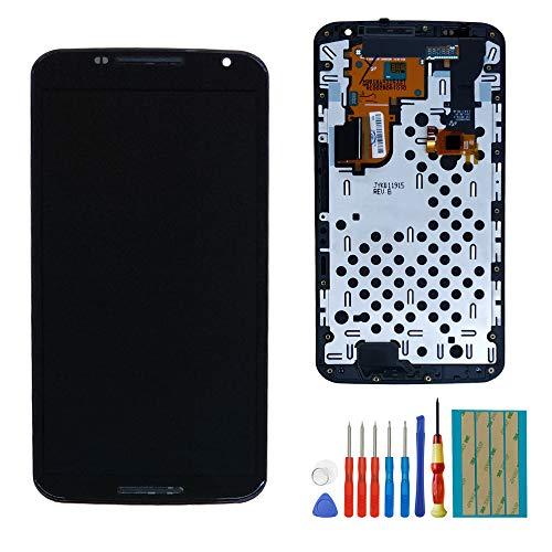 Replacement LCD Touch Screen Compatible with Moto Google Nexus 6 XT1100 XT1103 Amoled Touch Screen Display LCD Digitizer Assembly with Frame + Tools