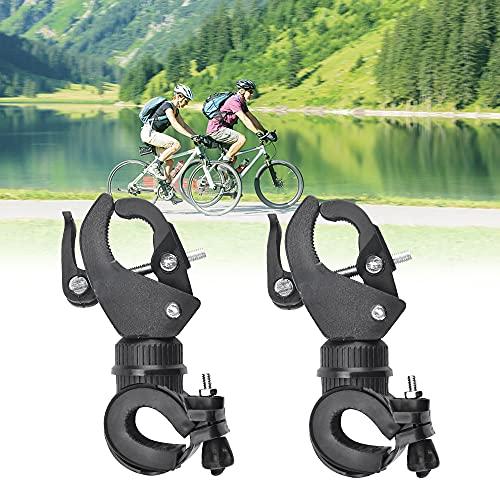 KBNIAN 2 PCS Soporte para Linterna Bicicleta Universal Soporte de Luz para Bicicleta Giratoria de 360 Grados Porta para Linterna de Bicicleta Flexible Abrazadera Linterna para Bicicleta - Negro