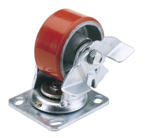 Plaque pivotante 100 mm de diamètre très résistant de fixation en polyuréthane avec frein S.W.L. 250 kg-Plateau pivotant avec fixation brake. très résistant, jusqu'à 10 fois plus longue durée de vie de roues en caoutchouc, avec une capacité de charge de centre de roue en acier, aiguille de roulement et la graisse nipple. Emballage Carton.
