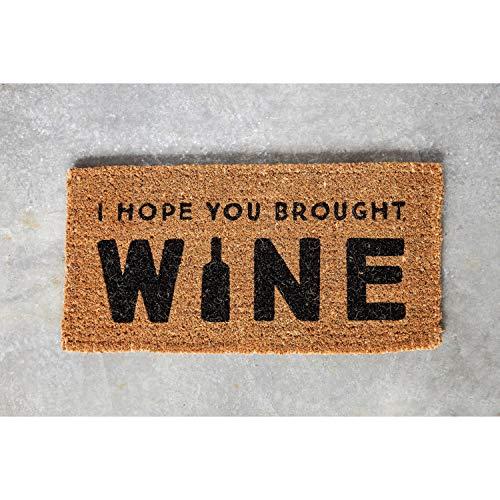 "Creative Co-Op I Hope You Brought Wine Coir Doormat, 32"" L x 16"" W x 1"" H, Natural/Black"