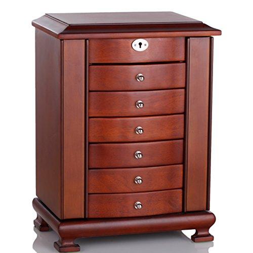 木製 ジュエリーボックス アクセサリーケース ミラー付き 6段 大容量 (ブラウン)