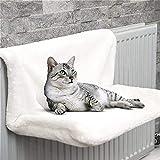 VOVEY Cama de radiador para gatos con radiador con marco de metal resistente y duradero y cómoda funda para cama de gato, hamaca para la mayoría de tamaños de gato.