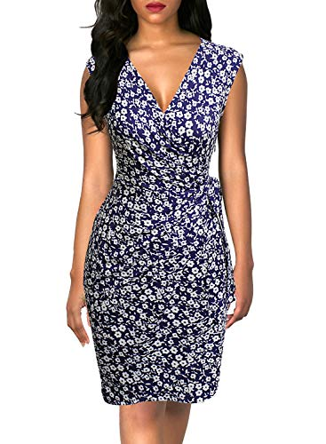Berydress Women's Classic V-Neck Cap Sleeve Sheath Cocktail Party Work Knee-Length Floral Faux Wrap Dress (S, 6028-White Floral)