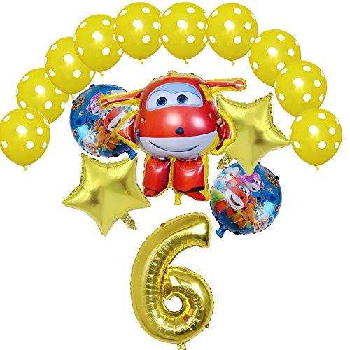 XIAOYAN Globos 16pcs Super Wings Balloon Jett Globloons Super Wings Toys Fiesta de cumpleaños 32 Pulgadas Número Decoraciones Niños Juguete Globos Suministros ( Color : Gold6 )